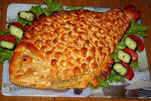 Как сделать пирог рыбный в виде рыбы 35